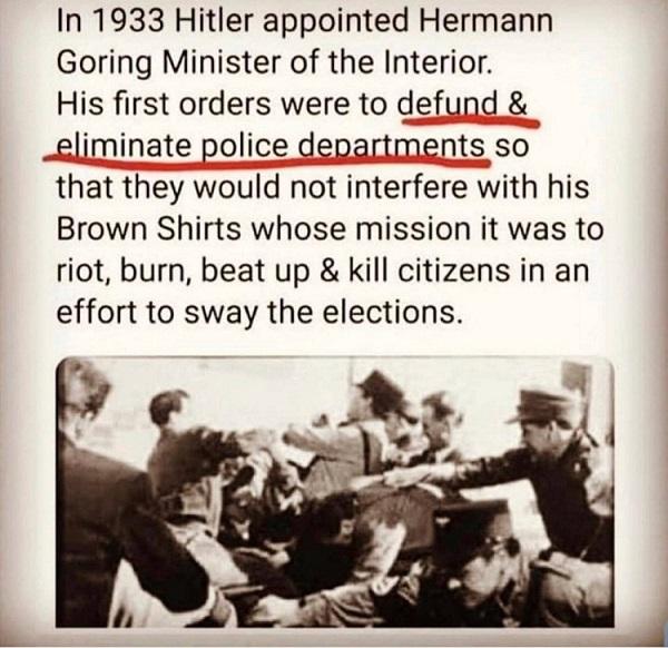 hitler, hermann goring, brown shirts, antifa,chaz,chop, defund police,